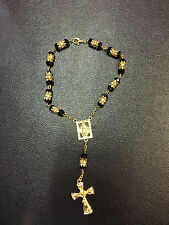 Black Crystal Glass Religious ROSARY Beads With Crucifix in Gift Box