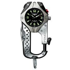 Dakota Watch Knife Clip Black Dial, Black & Titanium Case Carabiner Clip 8761-2