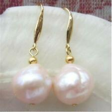 12mm Natural South Sea Baroque Rose Gold Pearl Earrings 14k Accessories Wedding