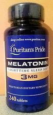 3 Puritan's Pride Melatonin 3 mg 240 Count each Tablets Sleep Aid Supplement