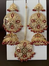 Indian Big Bali Jhumka Pearls Earrings Maang Tikka Fashion Fancy Trend Set