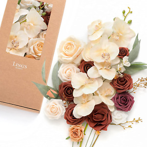 Ling's moment Artificial Flowers Orchid Box Set for DIY Wedding Bouquets Party