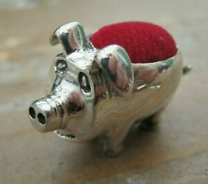A Sweet Birmingham Hallmarked Sterling Silver Novelty Pig Pin Cushion Red Velvet