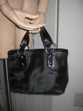 MAURIZIO TAIUTI CALF HAIR & PATENT LEATHER BLACK BAG PURSE SATCHEL MADE IN ITALY
