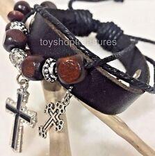 New  Silver Cross wood bead Leather Bracelet adjustable Charm Bracelet