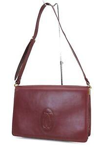 Authentic Must De CARTIER Burgundy Leather Shoulder Bag Purse #40980