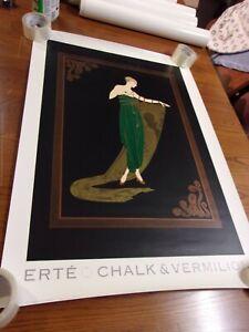 "ERTE ""EMERALD NIGHT"" CHALK & VERMILION 1992 ART DECO STYLE POSTER"