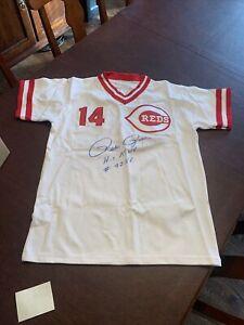 Pete Rose Hit King Autographed Cincinnati Reds  Baseball Jersey CEI Authenticity