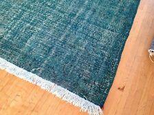 """10'6"""" x 7'4""""  AQUA  turquoise blue  TURKISH  oushak  Vintage Overdyed carpet rug"""