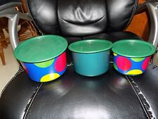 Tupperware Canister One Touch Lid Emerald Jade Green  W/Polka Dot2709 2708 2707
