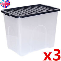 3 x 80L 80 Litre XX Large Plastic Storage Clear Box Strong Stackable Container
