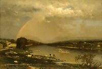 Oil painting george inness - delaware water gap cows by river landscape canvas