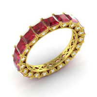 4.40 Ct Natural Diamond Ruby Eternity Band 14K Solid Yellow Gold Ring Size 6 7