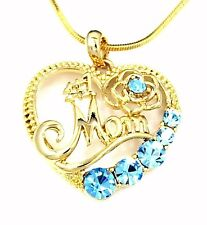 Pendant Gold Chain Necklace Mother Aqua #1 Mom Heart Rose Austrian Crystal Charm
