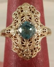 14K Yellow Gold Vintage Reproduction Blue Zircon December Birthstone FREE SIZING