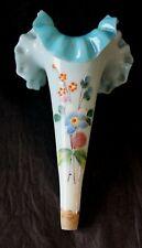 Vase Cornet en opaline bleue fleurie pour drageoir pique-fleurs