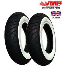 Lambretta Vespa LML Neco 3.50-10 White Wall Scooter Tyre Pair Tubeless 51 J CST
