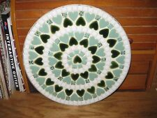 "VTG LARGE 10"" MID CENTURY MODERN MOSAIC TILE PLATE PLAQUE GRN-TURQUOIS-WHITE"