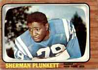 1966 Topps #99 Sherman Plunkett TACKLE New York Jets / Maryland State