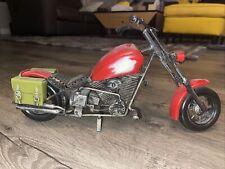 Large Handmade Vintage Harley Davidson Chopper Motorcycle Diecast Toy Metal Gift