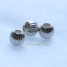925 Sterling Silver 3mm Corrugated Round Beads 20pcs New U.S.A