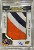 2019-20 PREMIER CONNOR McDAVID MEGA PATCH 18/22 GAME USED CHEST LOGOS OILERS