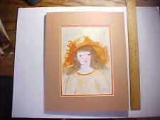 1980 RAVENEL GAILLARD BLACK FOLK ARTIST CAROLINA ORIGINAL WATERCOLOR LITTLE GIRL