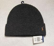93681ee891e Polo Ralph Lauren Cuff Hat Cap Beanie Wool Nylon NWT Charcoal Heather Gray