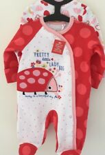 Gorgeous Up To 1 Month 50 /56 Cms /9 Lbs Cotton 2 Pack Ladybird Design Sleepsuit