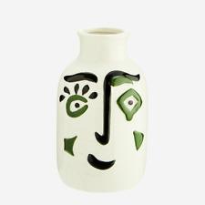 Small Black White Green Face Vase, Stoneware Vase, Dali Vase, Painted Face Pot