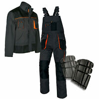 Bib & Brace Overalls Heavy Duty WORK TROUSERS Dungarees KNEE PADS and JACKET opt