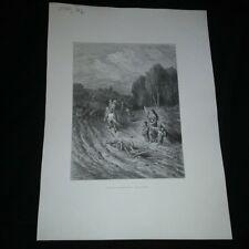 Gravure XIX siècle: Un seul cri retentissait,Dieu le veut !  Gustave Doré
