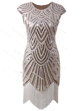 Retro 1920s Flapper Beaded Gatsby Charleston Party Fringe Evening Cocktail Dress Beige Dresses S UK 8-10 / US 4-6