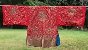 19TH C METALLIC GOLD COUCHED EMBROIDERED CHINESE ROBE W 14 DRAGONS