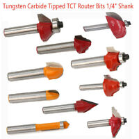 "1/4"" Shank Tungsten Carbide Router Bit Woodworking Milling Cutter Tools New"