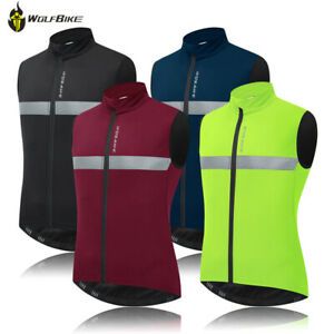Warm Fleece Thermal Cycling Vest Bike Gilet Reflective Top MTB Sleeveless Jersey