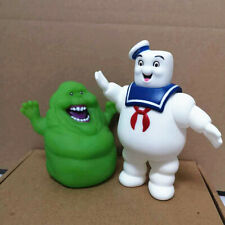 2Pcs/Set Ghostbusters Marshmallow Man Slimer Green Ghost Figure Figurine Toys