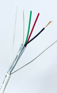 22/4C STRANDED BARE COPPER SHIELDED PLENUM WHITE SOUND & SECURITY CABLE USA MADE