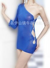 One Shoulder Side Cut Sexy Women Mini Bodycon Cocktail Party Dress G-string Set