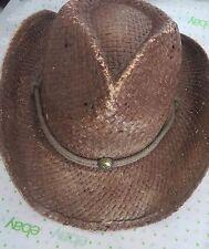 PETER GRIMM  Brown Straw ROUND UP Authentic Cowboy Hat  Moisture Wicking UNISEX