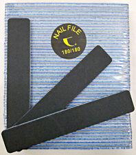 """50pc Nail File Black Jumbo 180/180 Grit Square Shape 7x1"""" Plastic Sanding File"""