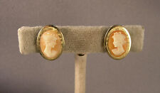 Vintage 1950's Krementz Carved Shell Lady Cameo & Gold Filled Screwback Earrings