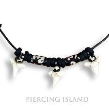 3 Shark Teeth Hai Zahn Surfer Kette Halskette Bone Design N191