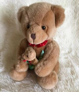 Brown Teddy Bear Russ Christofur Holding Mommy Baby Bear Stuffed Animal Vintage
