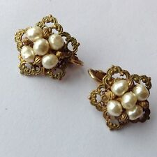 VINTAGE MIRIAM HASKELL SIGNED BAROQUE PEARL STAR EARRINGS