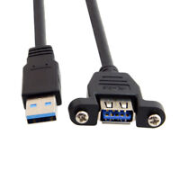 USB 3.0 male to Female Extension Data Cable With Screw Panel Mount