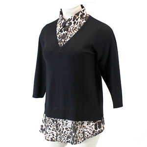 Avenue Plus Black Layered Look Leopard  Collar Sweater Top Catherines 26/28