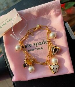 Kate Spade New York Tea Time Cups Chain Bracelet White & Black