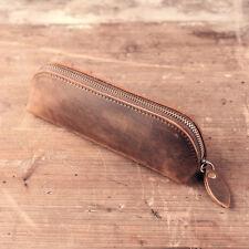 Handmade Vintage Genuine Leather Zipper Pen Bag Pencil Case Cosmetic Pouch Brush