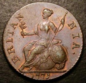 1771 AUNC George III Copper Half Penny. CGS 75, MS62-63 ☆☆ CGS Second Finest ☆☆